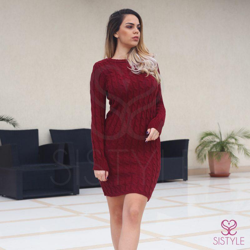 rochie tricot-grena