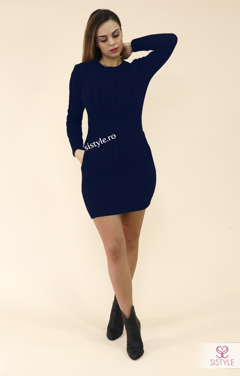 rochie tricotata cu buzunare bleumarin