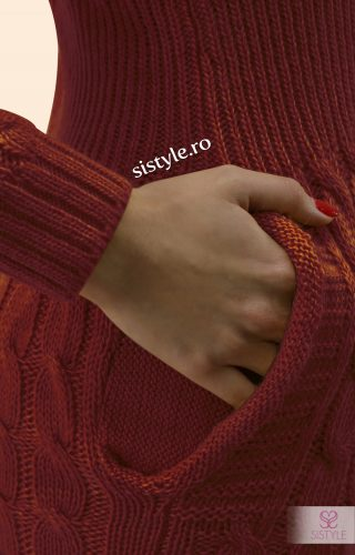 rochie tricotata grena detaliu