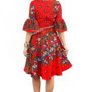 rochie tiganeasca rosie cu flori