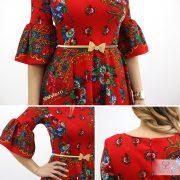 rochie tiganeasca rosie detaliu