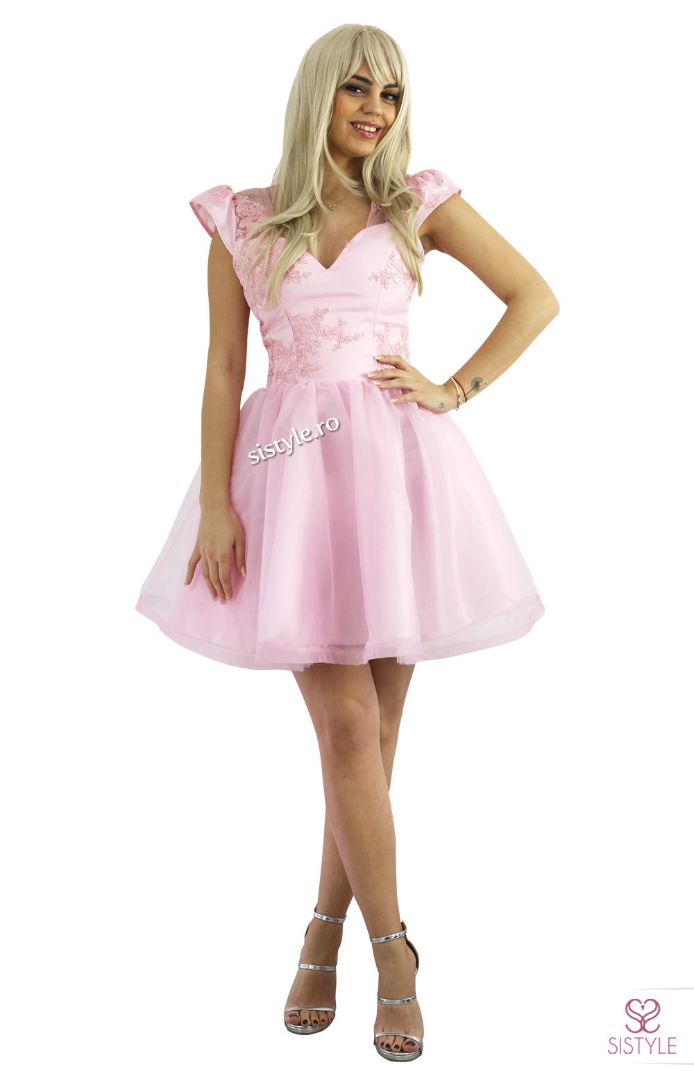 Rochie de ocazie roz maneci