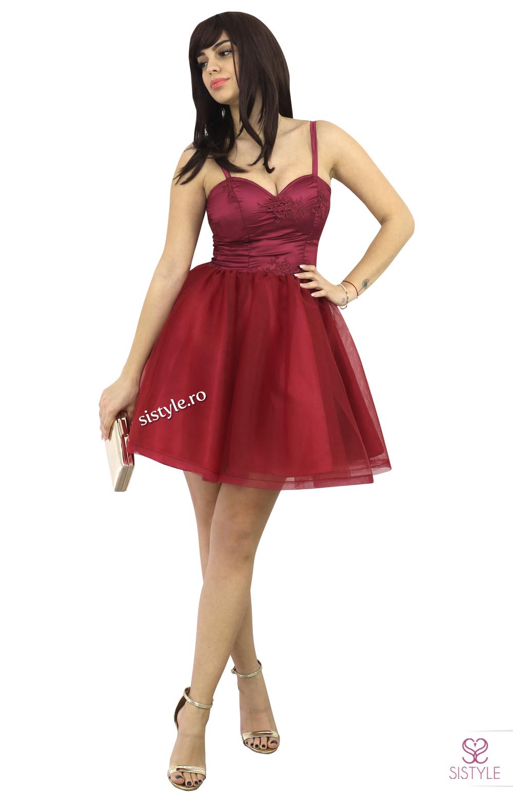 rochie cu tull scurta grena