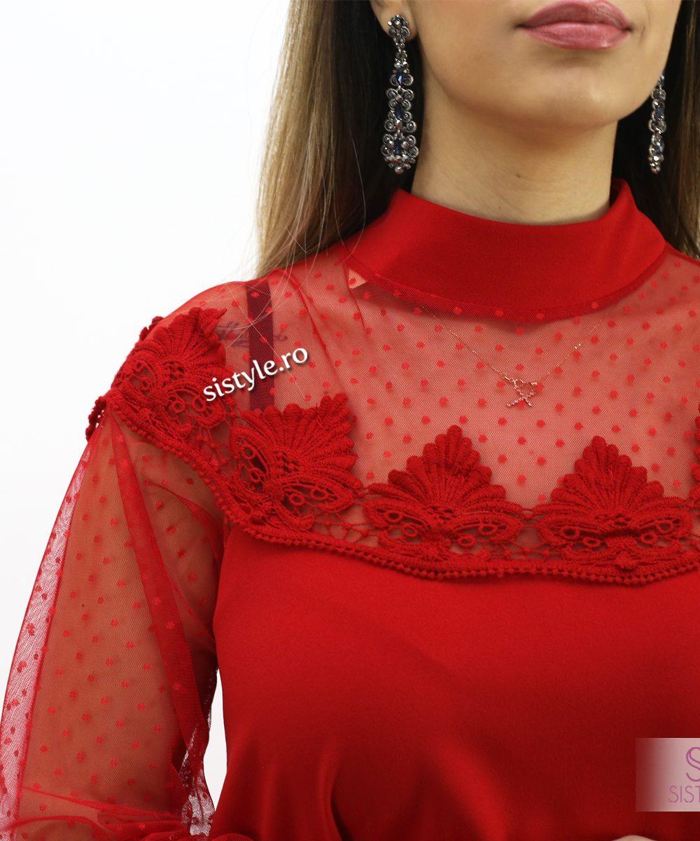 rochie de seara cu flori rosie