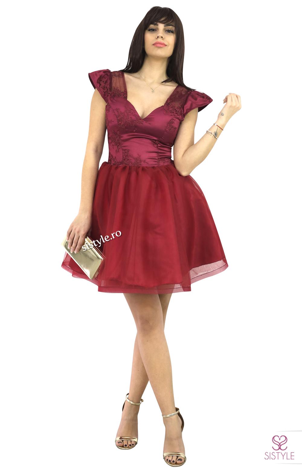 rochie de seara scurta grena