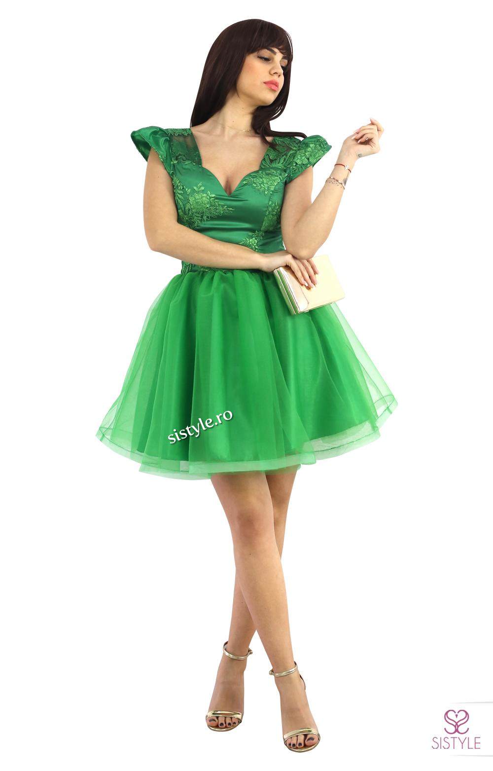 rochie de seara verde tull