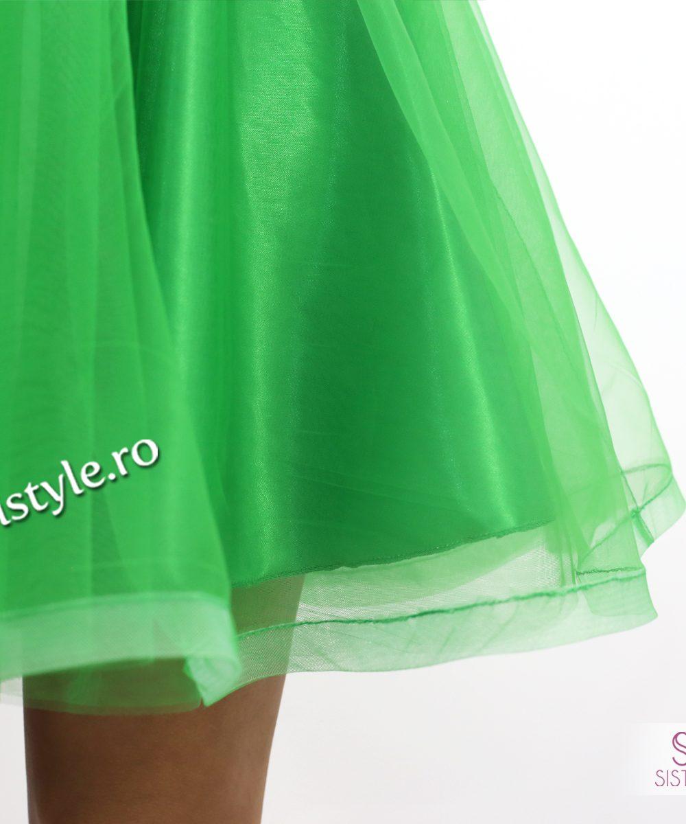 rochie ocazie verde tull detaliu