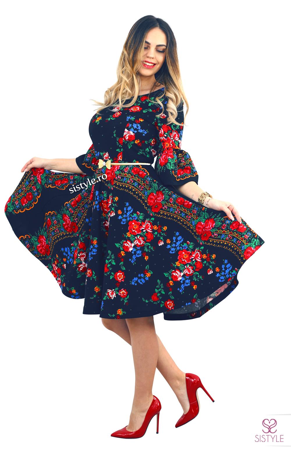 rochie cu flori bleumarin