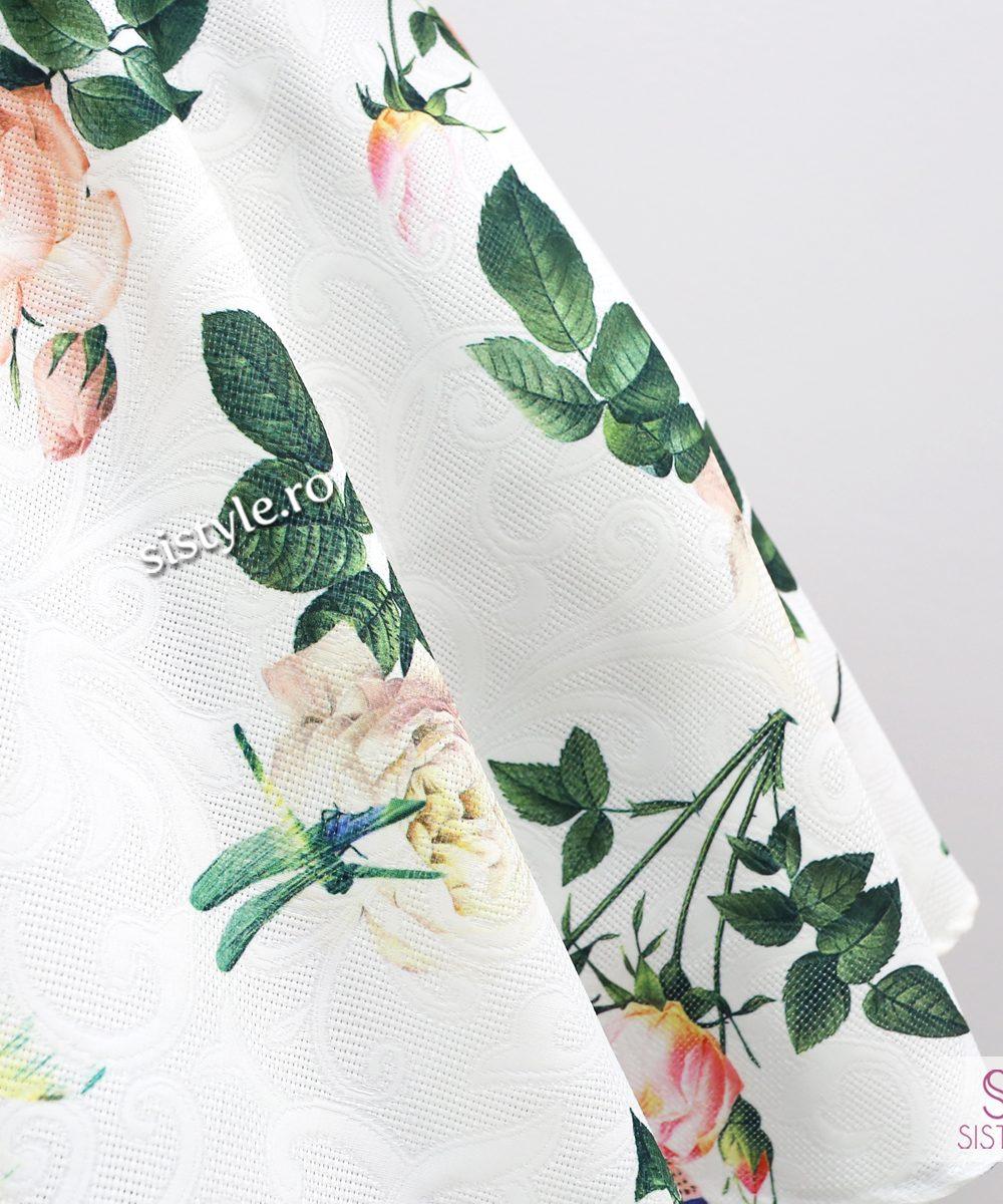 rochie alba detaliu fusta