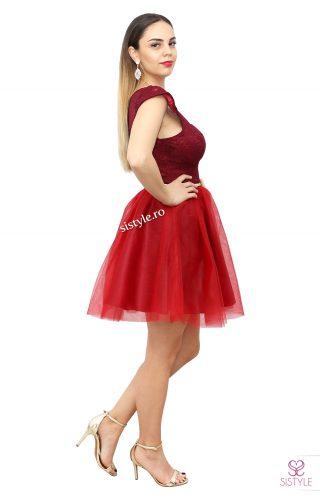 rochie de ocazie grena cu dantela