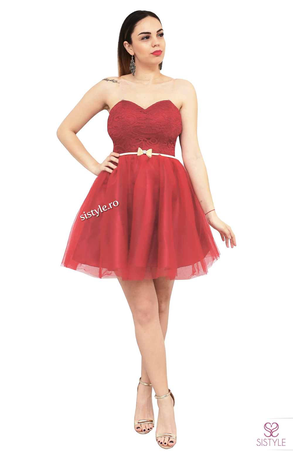 rochie scurta rosie scurta